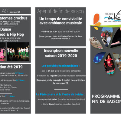 Programme de fin de saison et date d'inscription 2019-2020